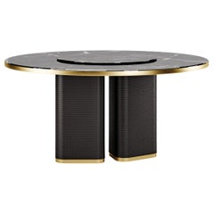 Contemporary Dining Table Swevel by Fabio Arcaini Carrara Marble Leather
