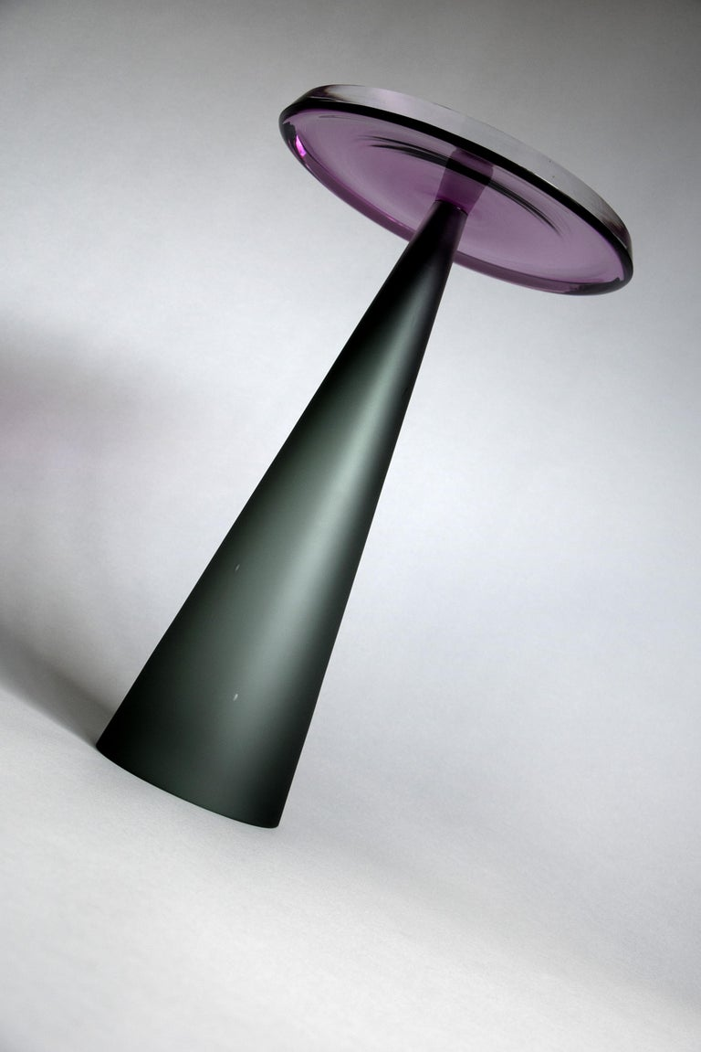 Blown Glass Contemporary Dominio Hand Blown Side Table For Sale