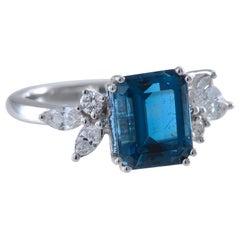 Contemporary Double Blue Santa Maria Africana Aquamarine Ring