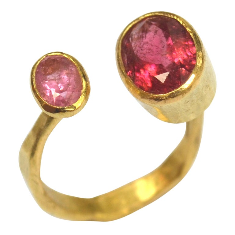 Contemporary Double Pink Tourmaline 18 Karat Gold Handmade Ring by Disa Allsopp For Sale