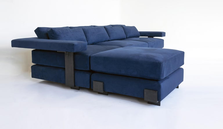 Contemporary Down Filling Classical Modern Sofa with Hand Carved Steal Details In New Condition For Sale In Bronx, NY