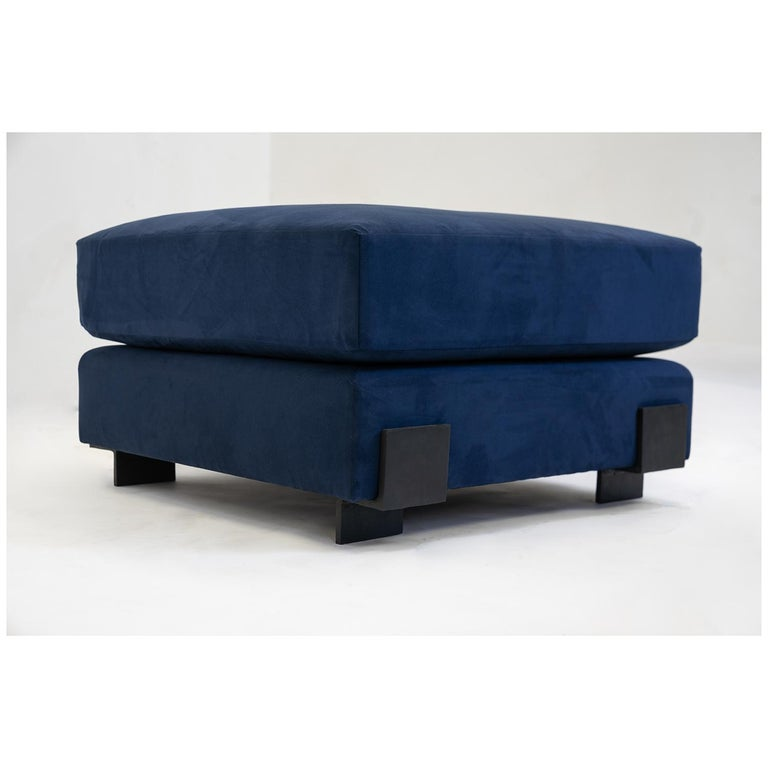 Suede Contemporary Down Filling Classical Modern Sofa with Hand Carved Steal Details For Sale
