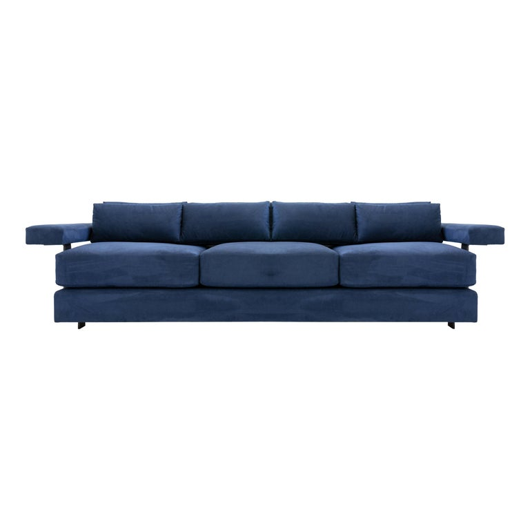 Contemporary Down Filling Classical Modern Sofa with Hand Carved Steal Details For Sale