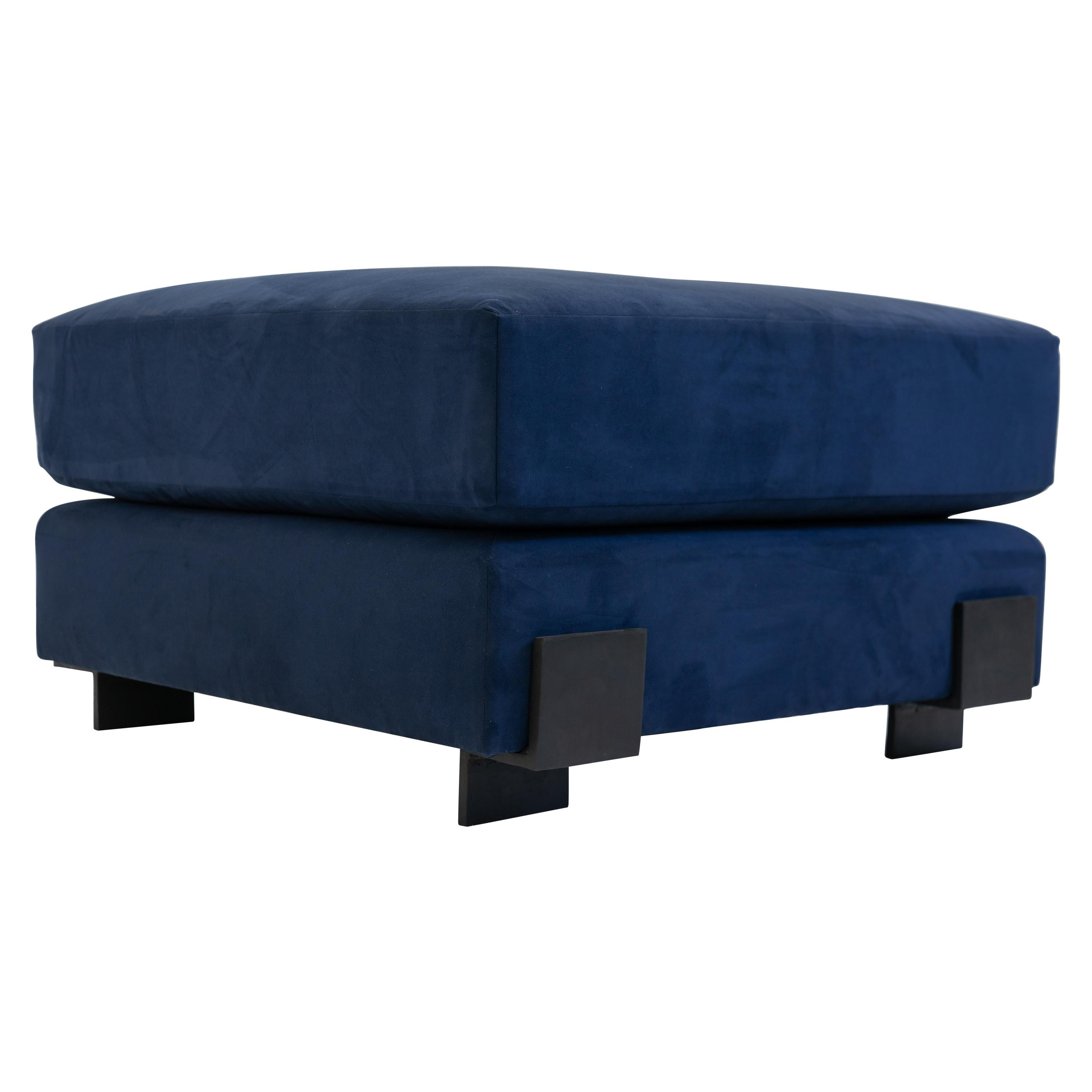 Ottoman Contemporary Down Filling Modern Square with Hand Carved Steel Details