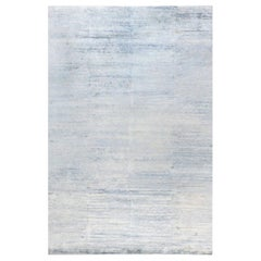 Contemporary 'Dreamy' Beige and Blue Hand Knotted Wool and Silk Rug