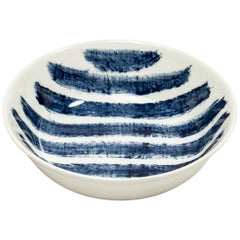 Contemporary Earthenware Bowl with Classic Tones of English Delftware