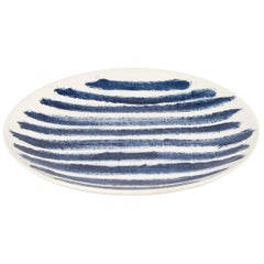 Contemporary Earthenware Dinner Plate with Classic Tones of English Delftware