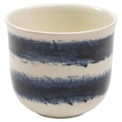 Contemporary Earthenware Espresso Cup with Classic Tones of English Delftware