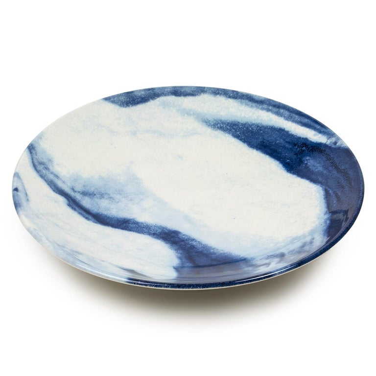 British Contemporary Earthenware Large Bowl with Interpretation of Traditional Creamware For Sale