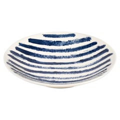Contemporary Earthenware Large Serving Bowl, Classic Tone of English Delftware