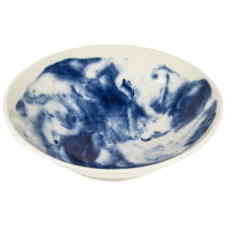 Earthenware Medium Bowl with Interpretation of Traditional Creamware For Sale