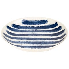 Contemporary Earthenware Pasta Bowl with Classic Tones of English Delftware