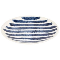 Contemporary Earthenware Salad Plate with Classic Tones of English Delftware