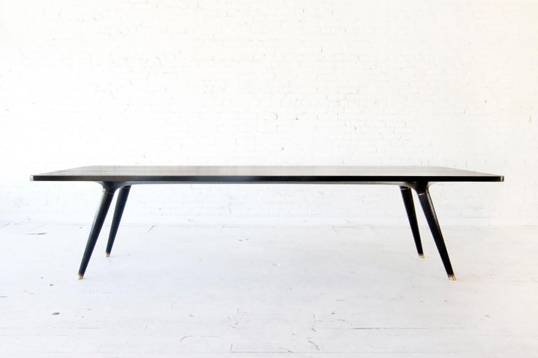 Organic Modern Contemporary Ebonized Dining Table in Carved Walnut with Brass Accents For Sale