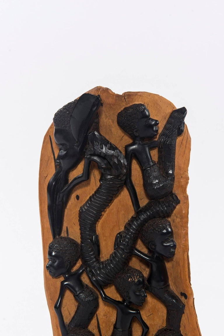 Contemporary Ebony Makonde African Wood Carving In Excellent Condition For Sale In Houston, TX