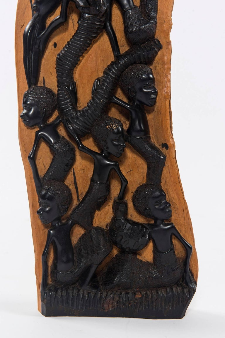 Mid-20th Century Contemporary Ebony Makonde African Wood Carving For Sale