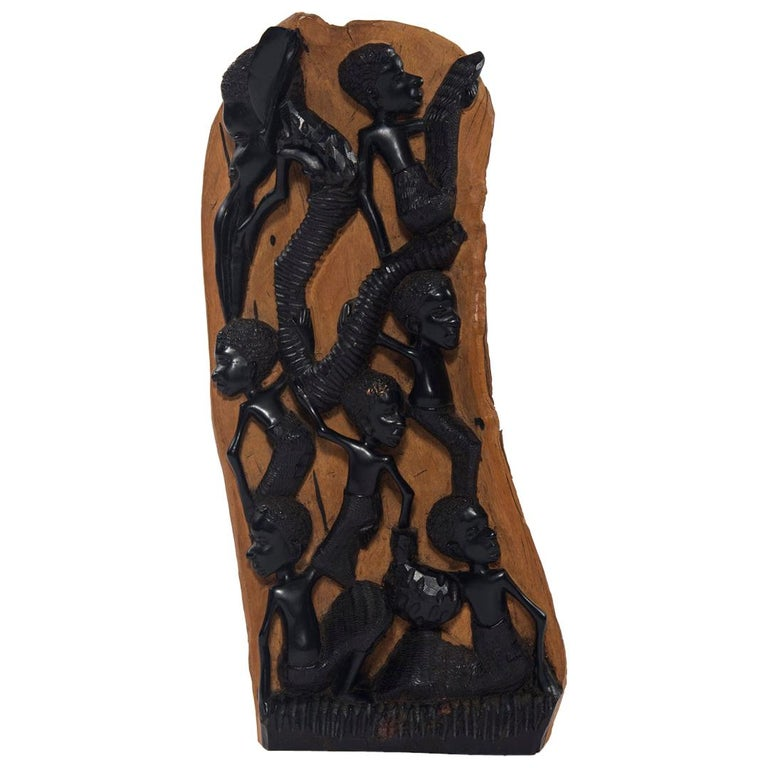 Contemporary Ebony Makonde African Wood Carving For Sale