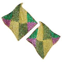 "Rosior Contemporary Diamond, Sapphire and Emerald ""Echarpe"" Earrings"