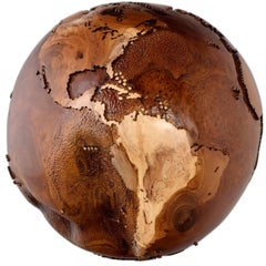 Contemporary Eclat Vibe Globe in Natural Burl and Hammered Skin Textured, 30cm