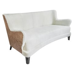 Contemporary Eclipse Curved Sofa in White Sheepskin and Leather Upholstery