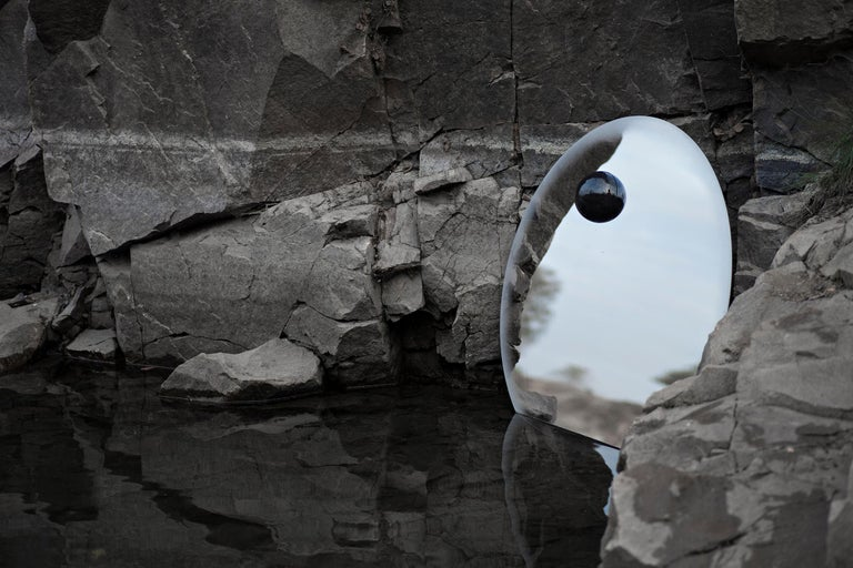 Swedish Contemporary Eclipse, Steel Mirror with a Diabase Stone For Sale