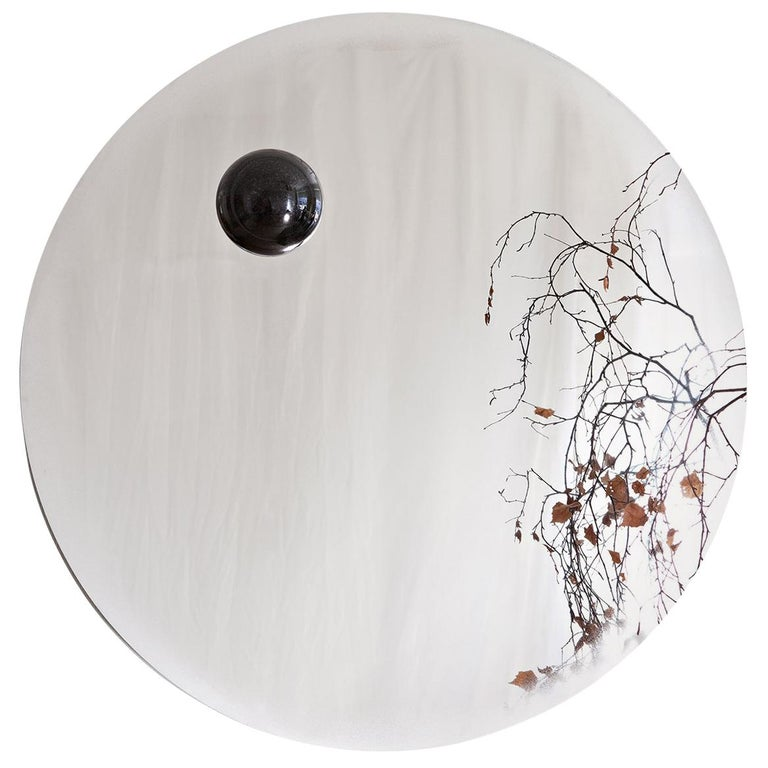Contemporary Eclipse, Steel Mirror with a Diabase Stone For Sale