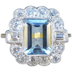 Contemporary Edwardian Style 1.50 Carat Aquamarine and Diamond Ring in 18ct Gold