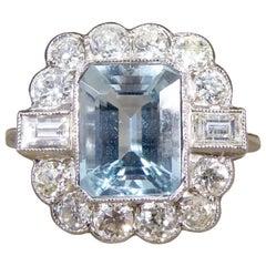 Contemporary Edwardian Style 1.60 Carat Aquamarine and Diamond Ring in Platinum