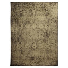 Contemporary Eggplant Hand Knotted Wool Beige and Black Rug