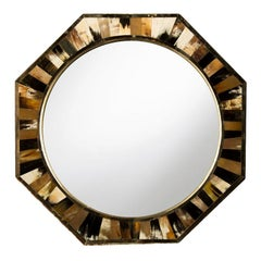 Contemporary Eight Sided Mirror, in the Manner of Karl Springer