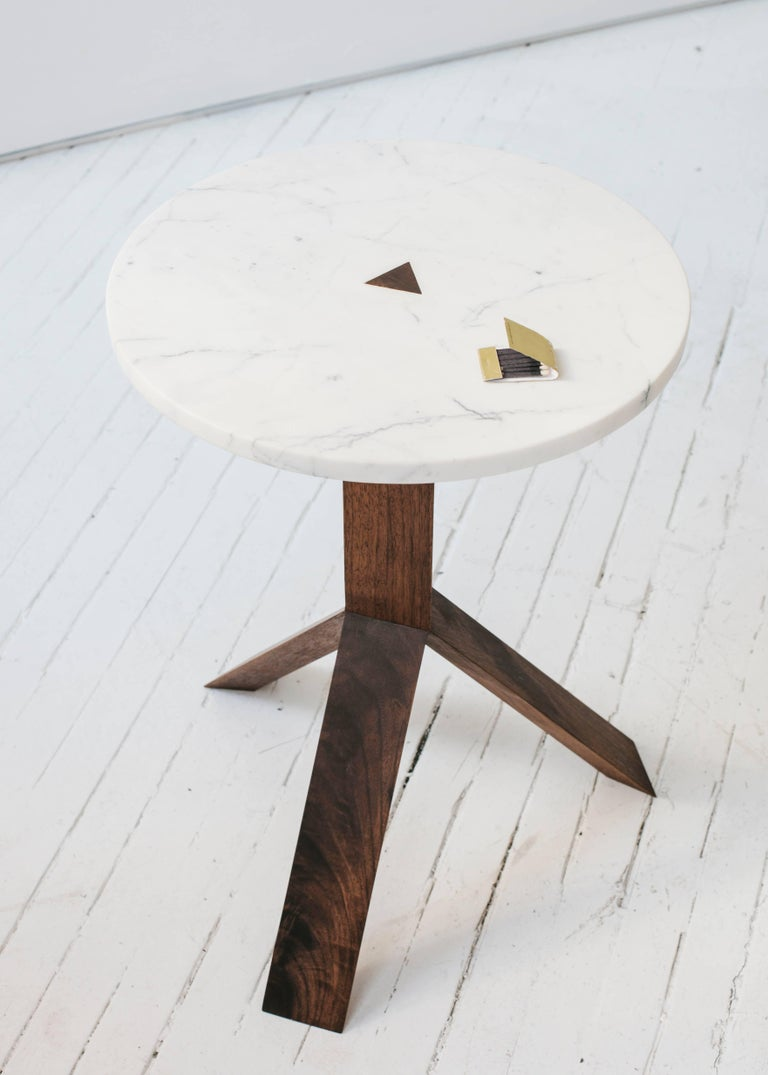 American Contemporary Elevate Side Table in White Oak Wood and Stone by Fort Standard For Sale