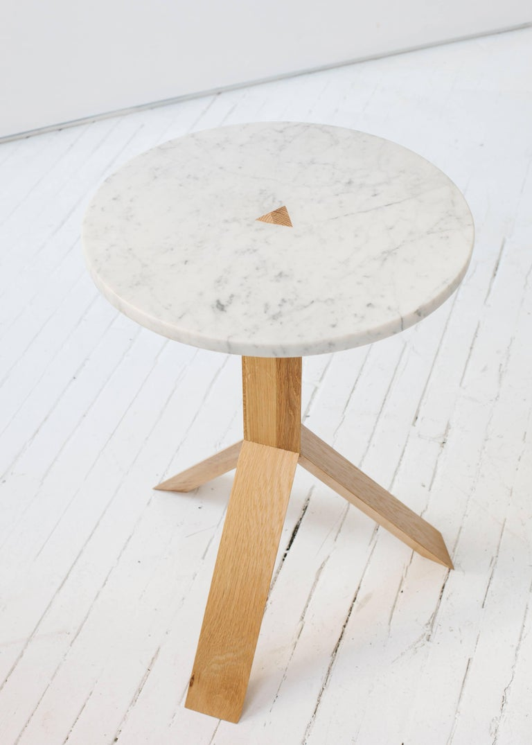 Hand-Crafted Contemporary Elevate Side Table in White Oak Wood and Stone by Fort Standard For Sale