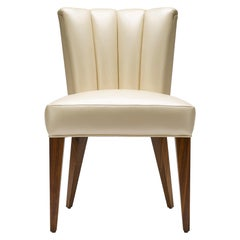 Contemporary Elodie Dining Chair in Champagne Pearlized Leather with Walnut Legs