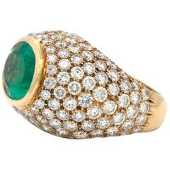 Contemporary Emerald and Diamond Dome Ring
