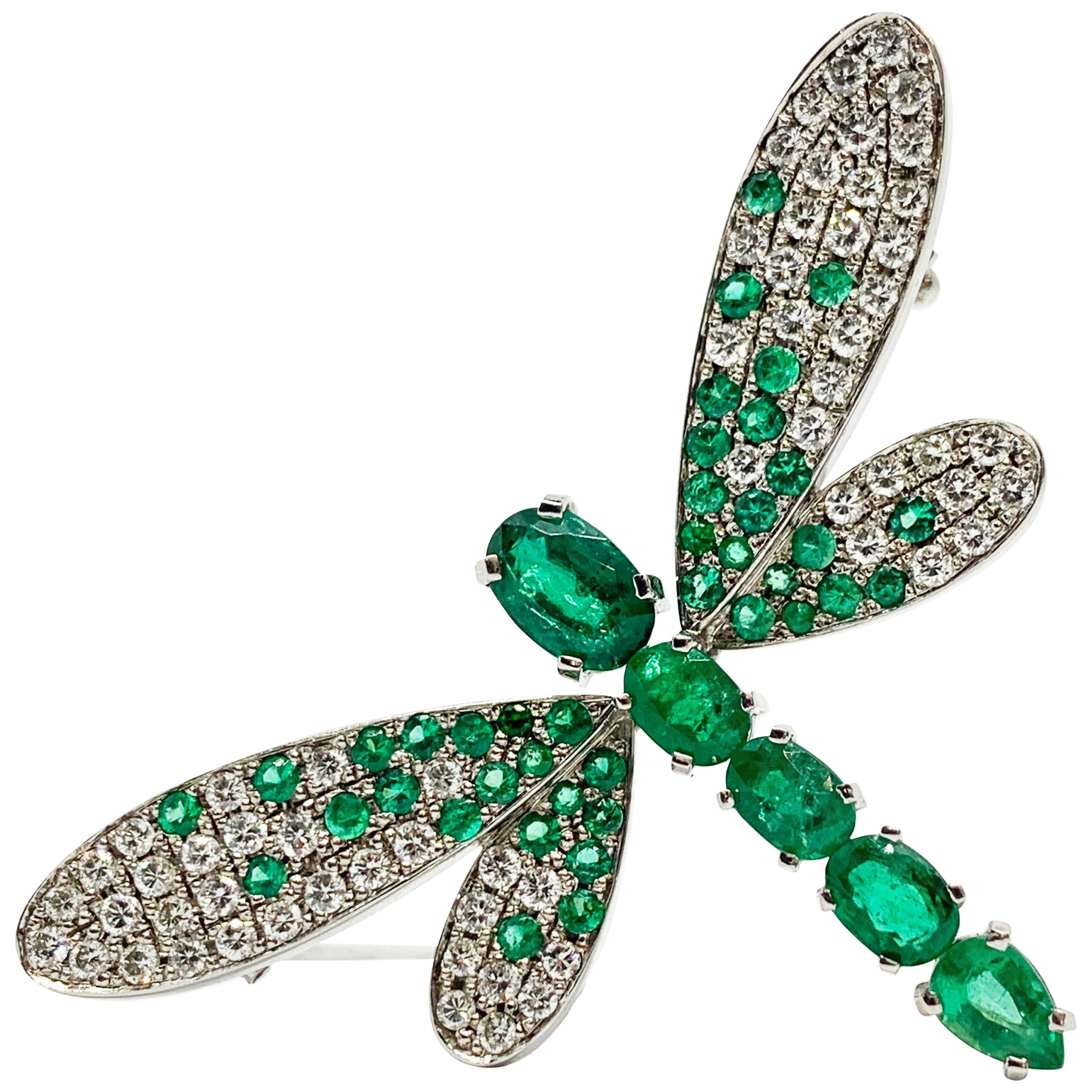 """Contemporary Emerald and Diamond White Gold """"Dragonfly"""" Brooch"""