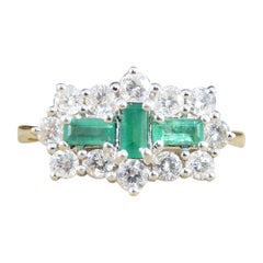 Contemporary Emerald and Diamond Horizontal Ring in 18ct Yellow and White Gold