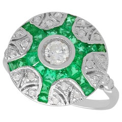 Contemporary Emerald and Diamond White Gold Cocktail Ring