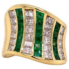 Contemporary Emerald Diamond 18 Karat Yellow Gold Wide Band Ring