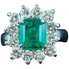 Contemporary Emerald Diamond Coronet Cluster Engagement Ring White Gold, 2010s