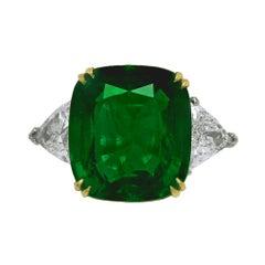 Contemporary Emerald Diamond Ring 11.44 cts