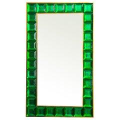 Contemporary Emerald Green Diamond Murano Glass Mirror, in Stock