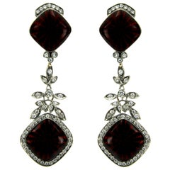 Contemporary Red Enamel Diamond Gold Earrings