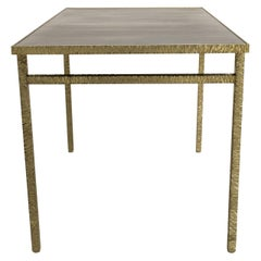 Contemporary End Table in Ziricote and Brass, Hammered Collection