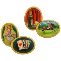"Contemporary English ""Four Vices"" Hand Painted Enameled Cufflinks"