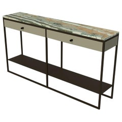 Contemporary Eros Console with Drawers in Marble and Powder Coated Steel