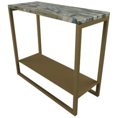 Contemporary Eros Side Table in Marble and Antique Brass Tint