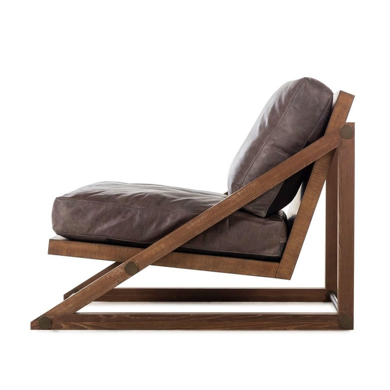 Modern Contemporary Armchair in Espresso Leather with Bronze Detailing For Sale
