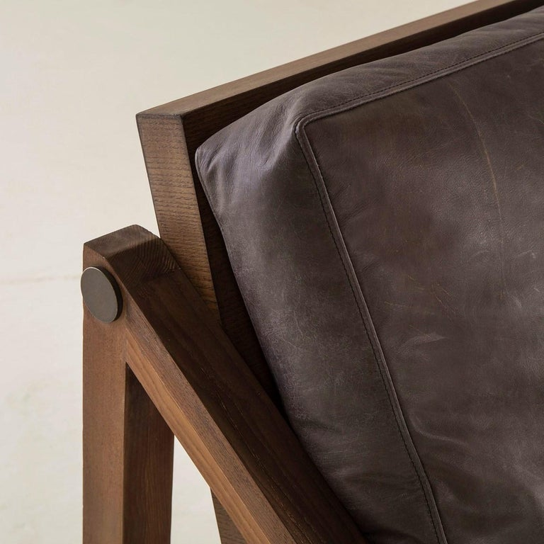 Contemporary Armchair in Espresso Leather with Bronze Detailing In New Condition For Sale In New York, NY