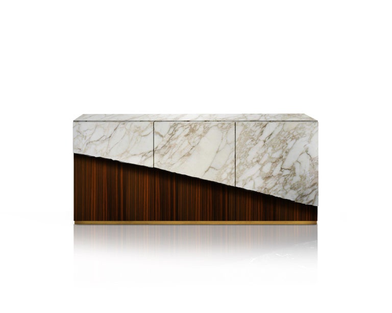 Latvian Contemporary Eunostus Credenza or Sideboard in Marble, Macassar Ebony, and Brass For Sale