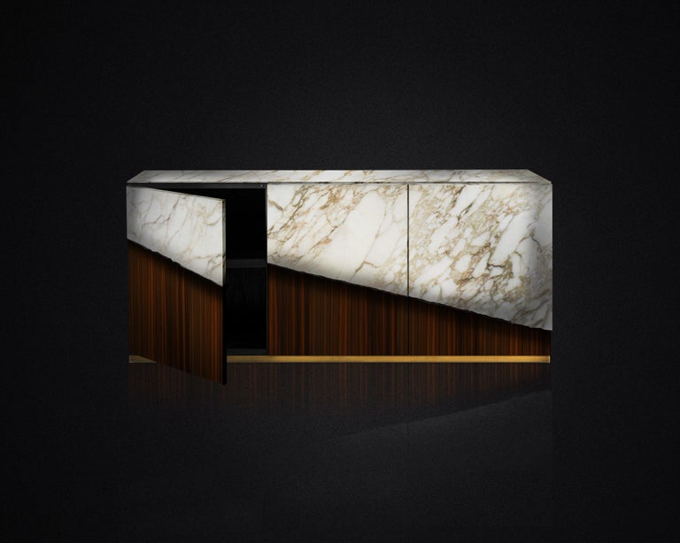 Hand-Crafted Contemporary Eunostus Credenza or Sideboard in Marble, Macassar Ebony, and Brass For Sale